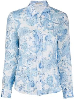 Etro Paisley-Print Oversized-Collar Shirt
