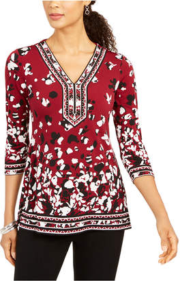 JM Collection Printed Rhinestone-Embellished Tunic