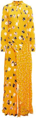 Self-Portrait Cutout Floral-print Crepe Maxi Dress