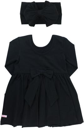 RuffleButts Girl's Black Twirl Solid Dress w/ Bow Headband, Size 0-4T
