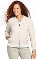 Lands' End Women's Plus Size Bomber Jacket-White Canvas Heather