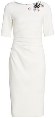 Theia Crepe Embellished Midi-Dress