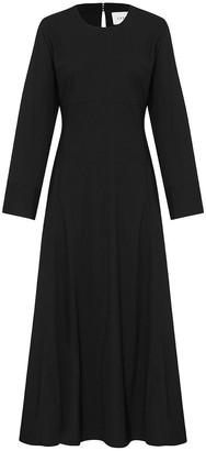 Esse Studios Long Sleeve V-Neck Button Side Midi Dress