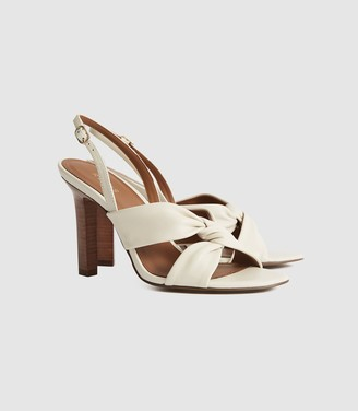 Reiss Phoebe - Leather Twist Front Slingbacks in White