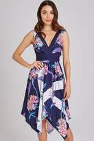 Little Mistress Maeve Floral-Print Hanky-Hem Midi Dress