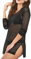Sevozimda Women Casual Swimsuit Swimwear Crochet Mini Dress Net Beach Bikini Cover Up M