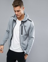 Jack and Jones Tech Longline Zip Up Hoodie With Taping Detail