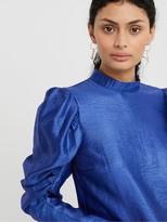 Monsoon Tabby Taffeta Long Sleeve Top - Cobalt