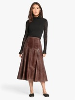 Halston Midi Leather Skirt