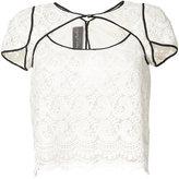 Monique Lhuillier cutout lace blouse - women - Silk - 2