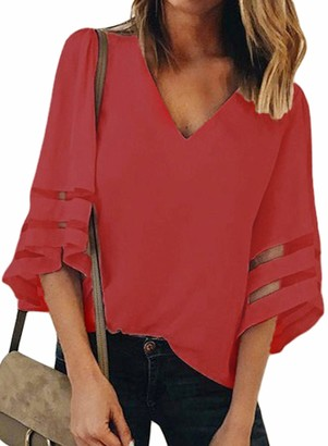 ROSKIKI Ladies Tops 3/4 Bell Sleeve V Neck Casual Sheer Patchwork Sleeve Solid Shirts and Blouses Red M