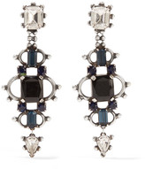 Dannijo Gabriel Oxidized Silver-plated Swarovski Crystal Earrings - Black