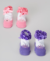 Dimples Pink & Purple Royal Wedding Two-Pair Socks Set