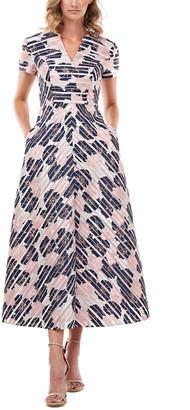Kay Unger Renee Printed Stripe Burnout Midi Dress
