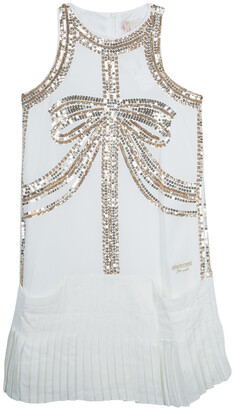 Roberto Cavalli White Sequin Embellished Pleated Dress 10 Yrs