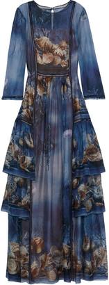 Alberta Ferretti Tiered Printed Silk-chiffon Gown