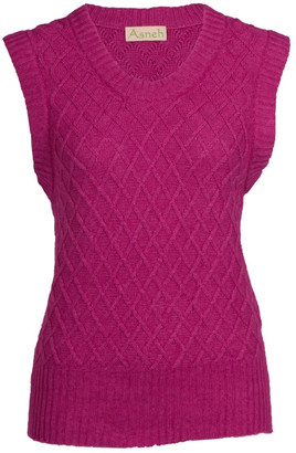 Asneh Silk Cashmere Diamond Pattern Sleeveless Sweater - Fuchsia Pink