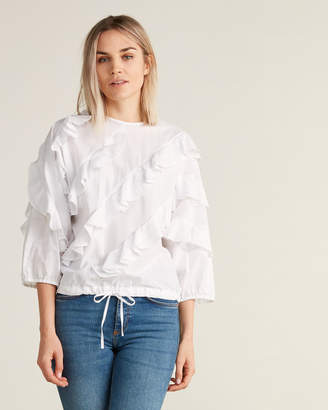 Hache Striped & Ruffled Dolman Sleeve Blouse