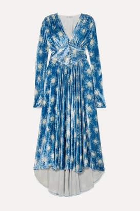 Paco Rabanne Crystal-embellished Printed Velvet Maxi Dress - Blue