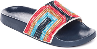 Bernardo Embroidered Flat Slide Pool Sandals