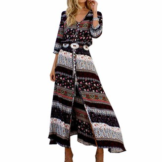 LAPOPNUT Womens Long Sleeve Split Maxi Dress Boho Print Summer Tunic Slip Split Vintage Button Belted Dresses