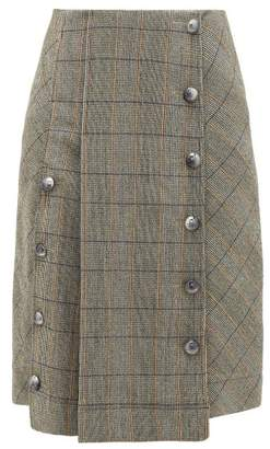 Chloé Buttoned Checked Wool Blend Skirt - Womens - Grey Multi