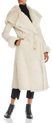 Herno Belted Long Shearling Coat
