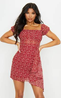 Pure Red Ditsy Floral Print Ruffle Drape Bodycon Dress