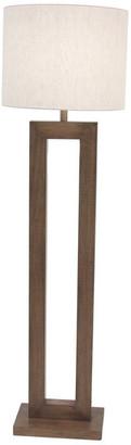 Brimfield & May Farmhouse Rectangular Iron and Pine Wood Floor Lamp, Brown