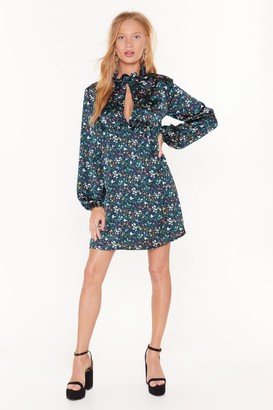 Nasty Gal Womens Flower About That Satin Mini Dress - Teal