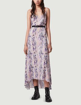 AllSaints Essie Masala snakeskin-print crepe slip dress