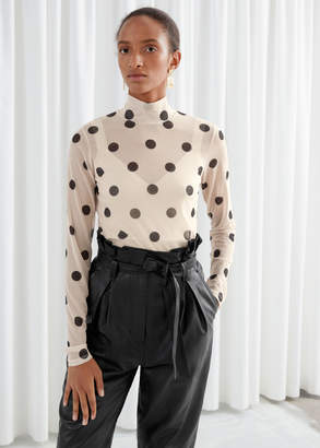 And other stories Polka Dot Mesh Turtleneck Top
