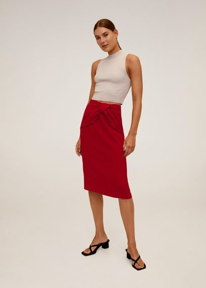 MANGO Knot pencil skirt