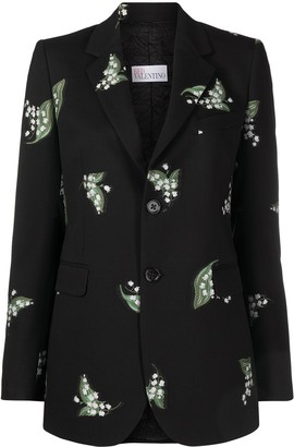 RED Valentino Floral-Print Single-Breasted Blazer