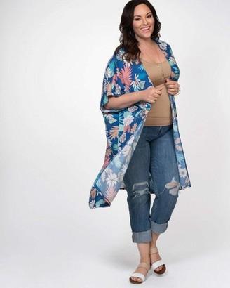 Kiyonna Paradise Dream Kimono in Tropical Dream in Blue/Pink/Coral Size 2X/3X