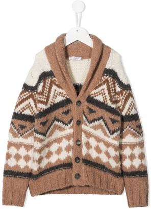 BRUNELLO CUCINELLI KIDS Geometric Knit Cardigan