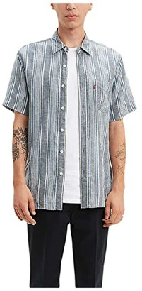 Levi's Premium Short Sleeve Sunset One-Pocket Standard (Aiden Dress Blues Stripe) Men's Clothing