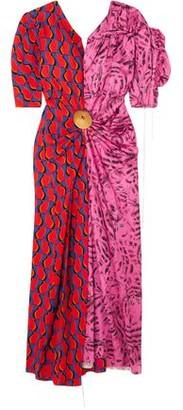 Marni Embellished Paneled Printed Satin Midi Dress