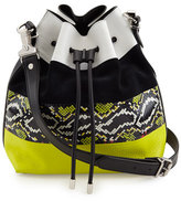 Proenza Schouler Medium Snakeskin-Striped Leather Bucket Bag, Optic White/Navy
