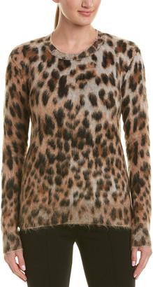 Saint Laurent Leopard Print Mohair & Wool-Blend Top