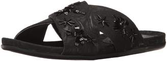 Kenneth Cole Reaction Women's Slim Flat Slip On Sandal with X-Band Upper and Cute Bug Jewels-Fabric
