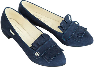 ZAPATO Women's Loafers navy - Navy Smooth Fringe Leather Loafer - Women