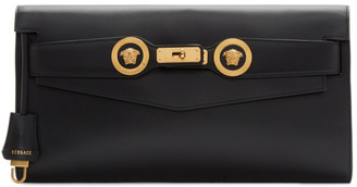 Versace Black Tribute Icon Double Medusa Coin Clutch