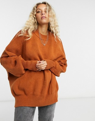 Free People Easy Street high neck oversized jumper in brown