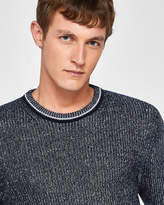 Plaited rib crew neck jumper