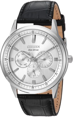 Citizen Men's Eco-Drive Stainless Steel Japanese-Quartz Watch with Leather Calfskin Strap