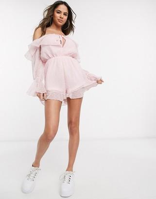 Parisian dobby mesh off shoulder romper in pink
