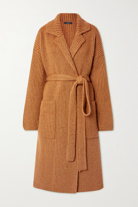 Joseph Belted Ribbed Wool-blend Cardigan - Camel