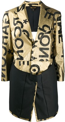 Comme des Garcons Logo Print Single-Breasted Coat