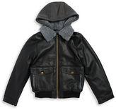 London Fog Boys 8-20 Sherpa Trimmed Leatherette Coat